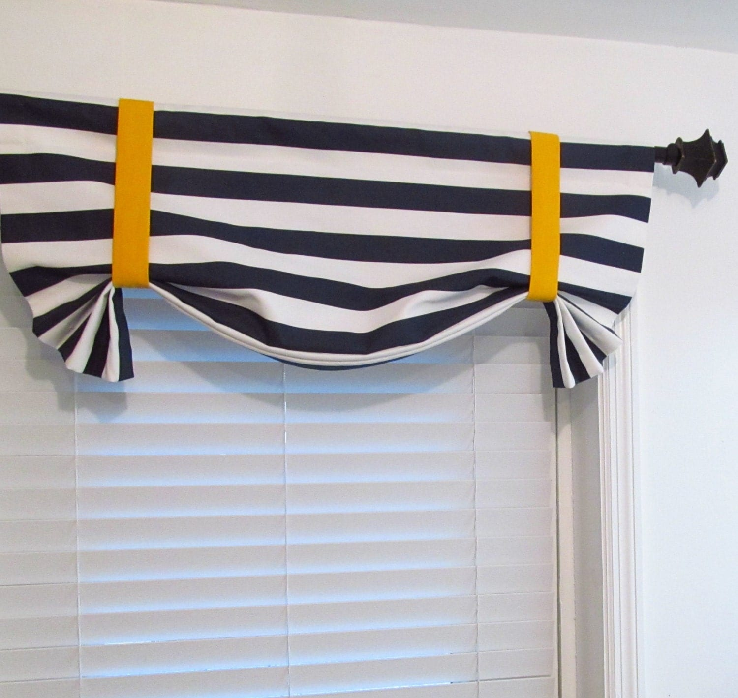 Nautical Tie Up Valance Lined Curtain Navy Blue White Yellow