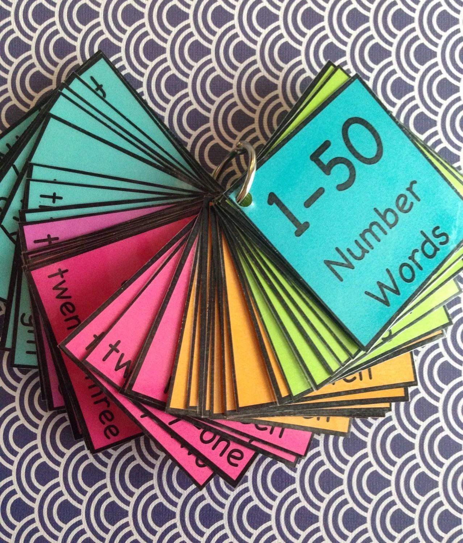 Number Words 1 50 Flash Cards Math Teaching Teacher Made