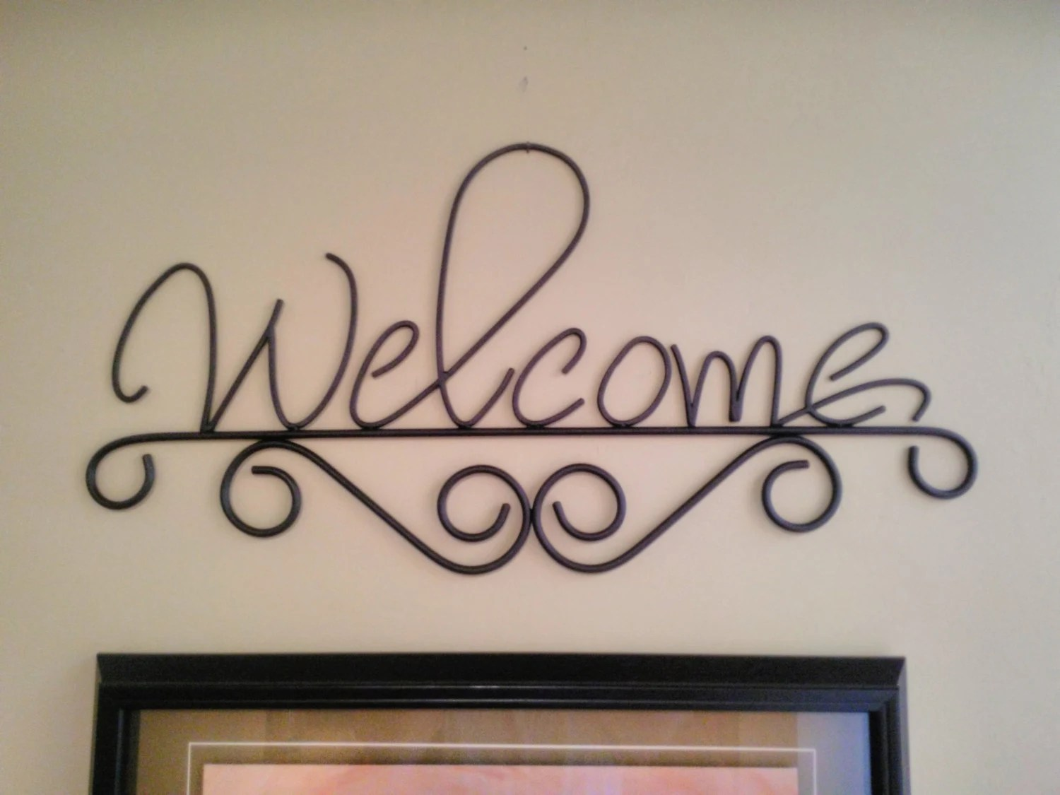 Welcome Sign Rustic Metal Wall Decor Wrought Iron Wall Art