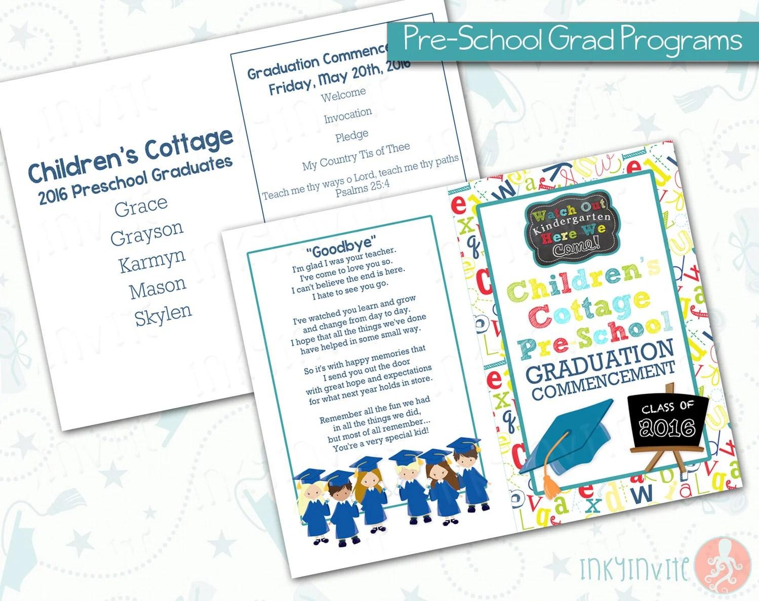Pre School Graduation Programs Pre K Class Graduation