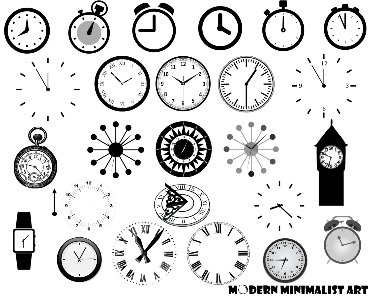 Clocks Clipart Black And White 26 Images