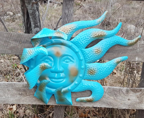 Large Metal Sun Wall Art Turquoise Garden Decor Outdoor Metal