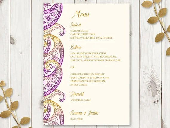 Indian Wedding Menu Template Paisley Purple And