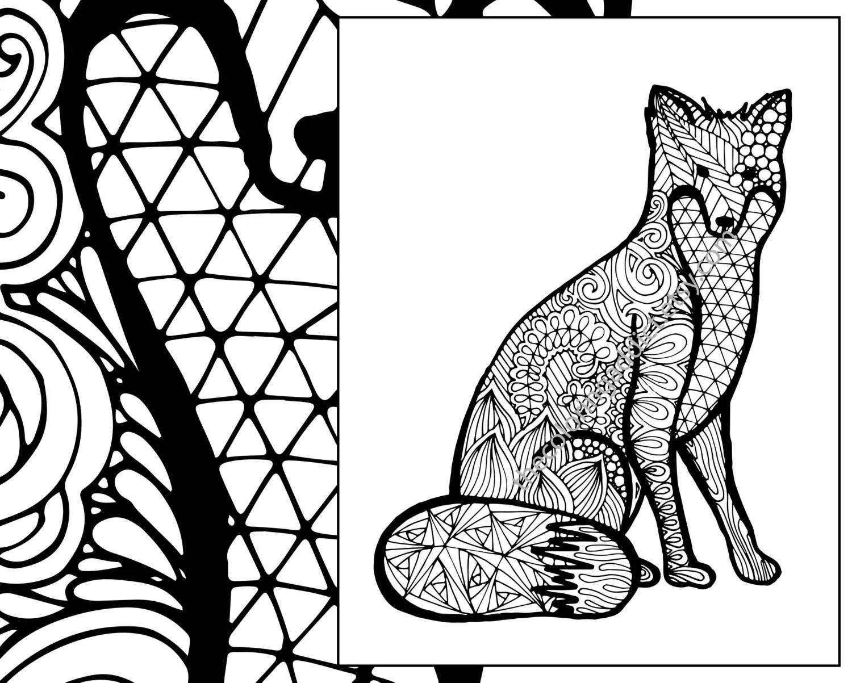 Fox Coloring Sheet Animal Coloring Pdf Zentangle Adult