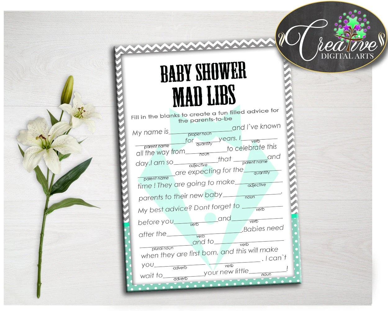 Little Man Chevron Shower Mint Theme Verb Adjective Mad Libs