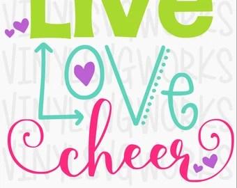 Download Items similar to Rhinestone Live, Love, Cheer Bling Shirt ...