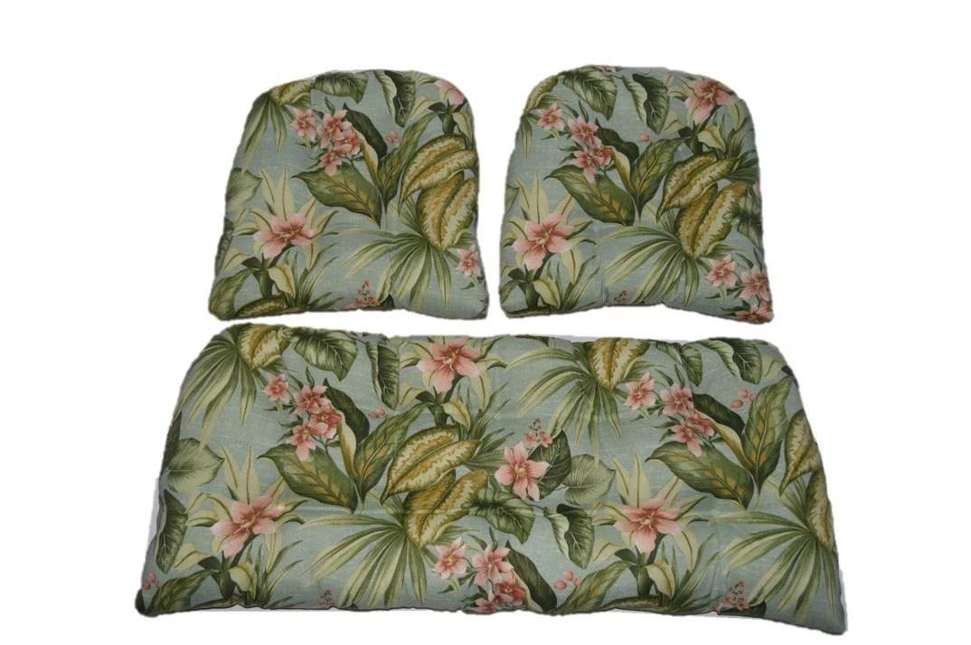 Indoor / Outdoor Wicker Cushion 3 Pc. Set Jamaican Mist