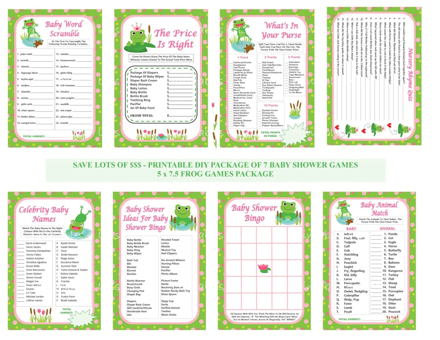 Frog Baby Shower Games Printable Frog Baby Games Diy Frog