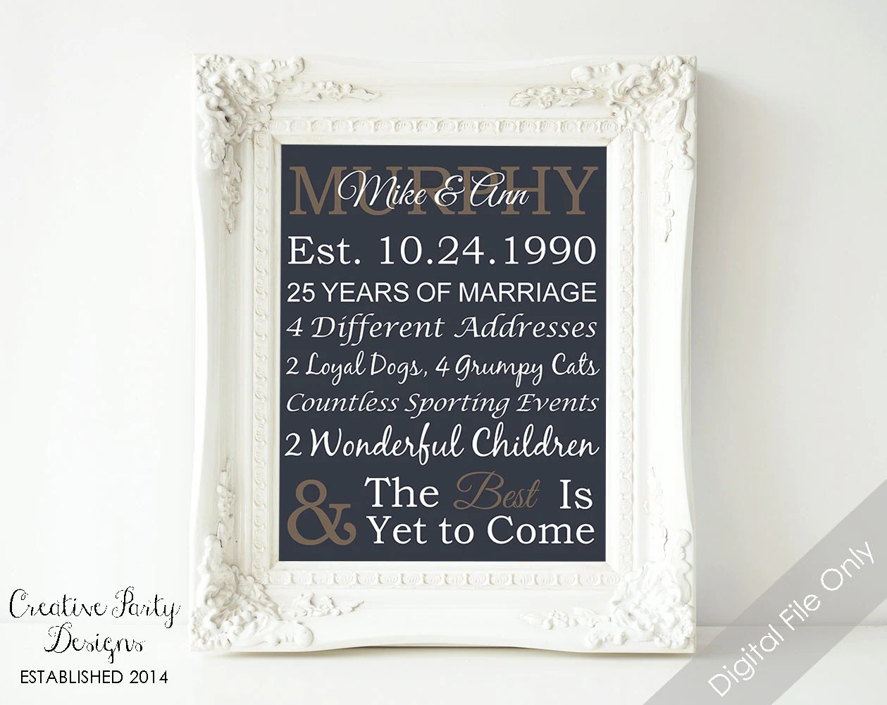 25th Anniversary Gift Personalized By CreativePartyDesigns