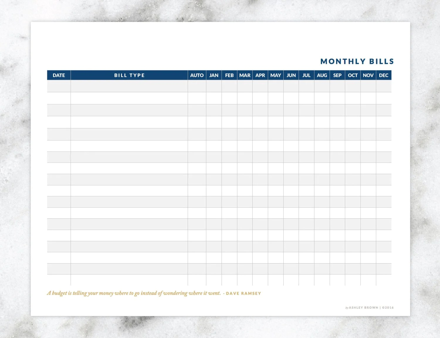 Monthly Bills Worksheet Instant Download