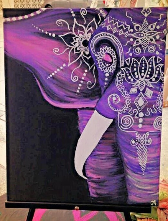 Cute Elephant Easy Canvas Paintings