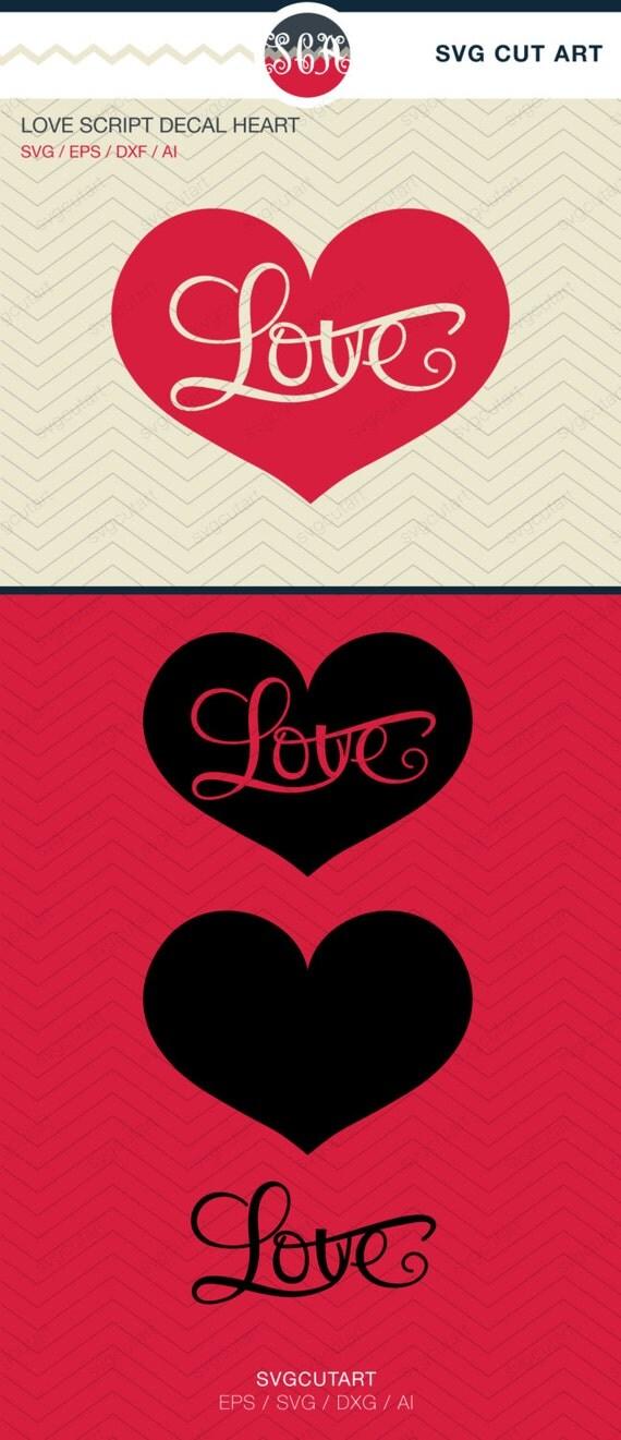Download Love Script Decal Heart DXF SVG EPS Cricut Design Silhouette
