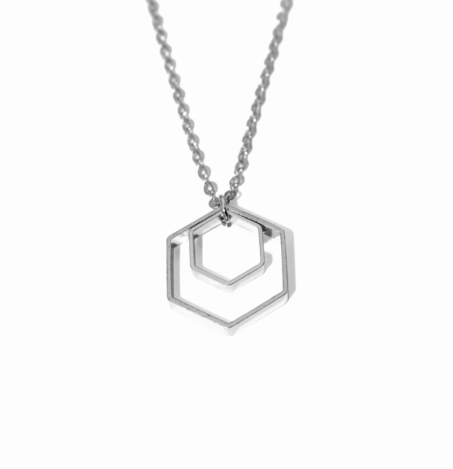 Silver Honeycomb Necklace Hexagon Necklace Modern Geometric