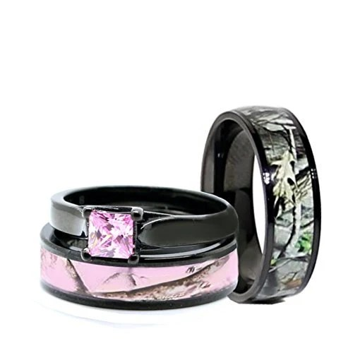 His And Hers Camo Wedding Rings Set Black Plated Titanium And