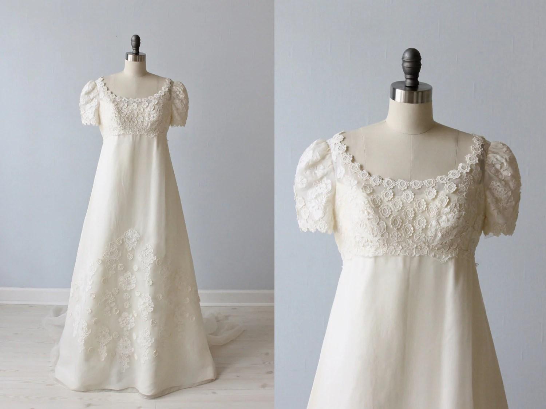 Vintage Lace 1960s Wedding Dress / Empire Waist / A-Line