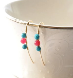 Turquoise Ruby Earrings, Gold Gemstone Earrings, Beaded Bar Earrings, Blue Red Earrings, Modern Ruby Quartz Earrings
