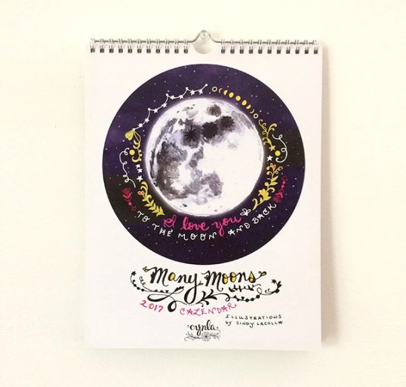 Many Moons Calendar - 2017 Calendar - moon calendar - full moon