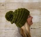Soft Wool Chunky Knit Slouchy Hat, Knit Pom Pom Hat, Knit Hat, Green - Ready to Ship