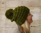 Soft Wool Chunky Knit Slouchy Hat, Knit Pom Pom Hat, Knit Hat, Green - Ready to Ship
