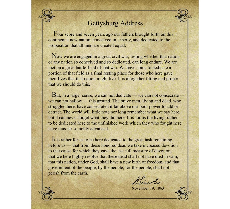 Gettysburg Address By Abraham Lincoln 16x20 Print