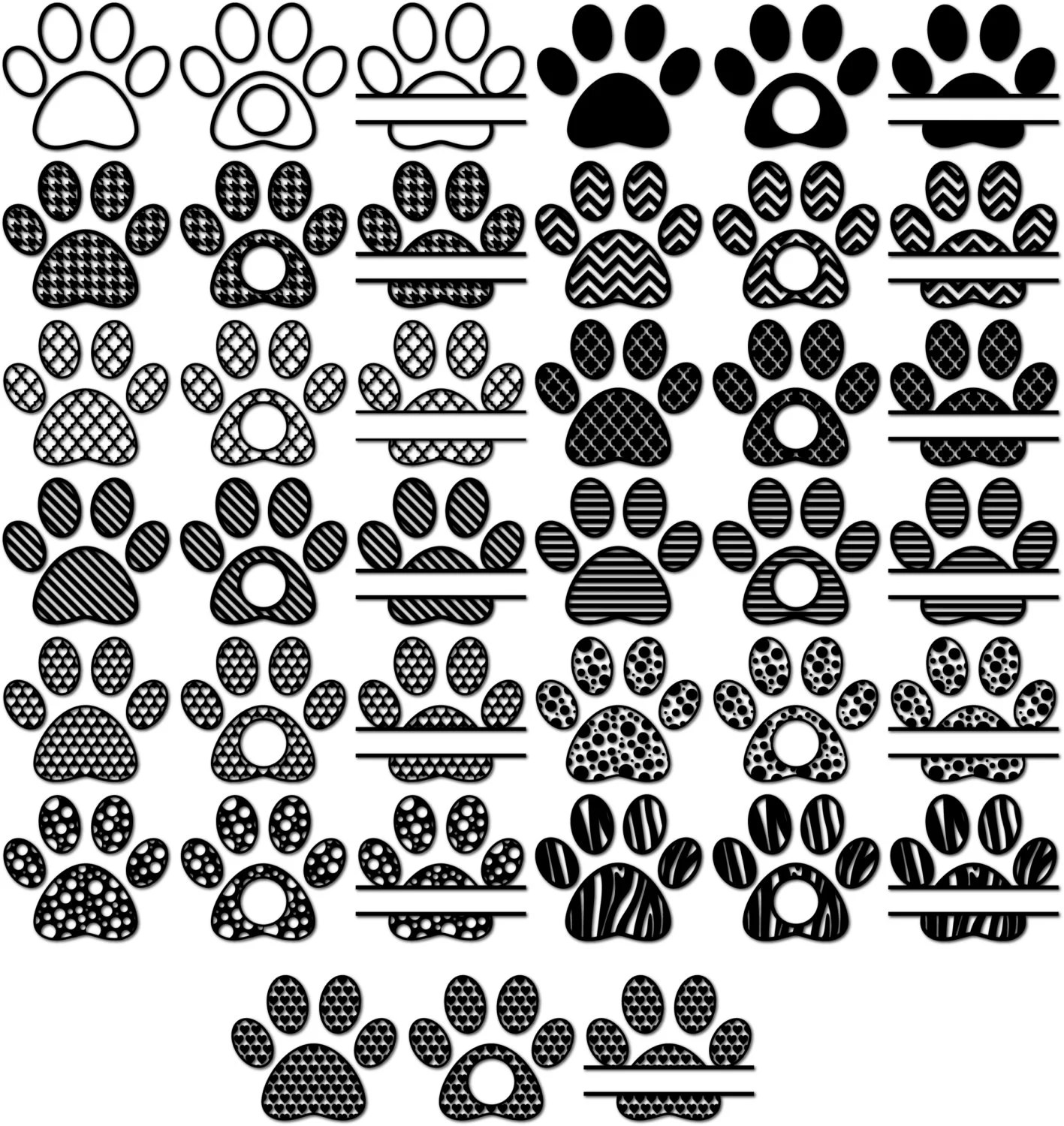 Paw Svg Monogram Frames For Vinyl Cutters Paw Print Svg