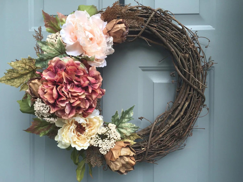 Floral Grapevine Wreath Wedding Wreath Wedding Gift Elegant