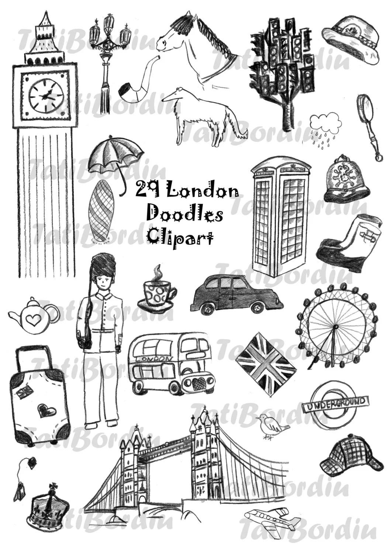 London Doodles Clipart From Tatibordiu On Etsy Studio