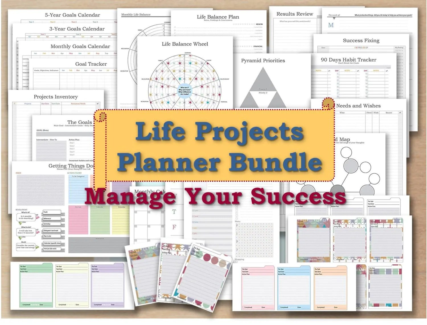 Project Planner Life Organizer Kit And Cards Plan Template