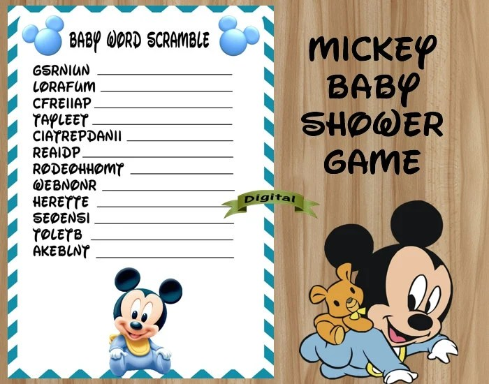 Mickey Mouse Baby Shower Game Mickey Baby Shower Game Mickey