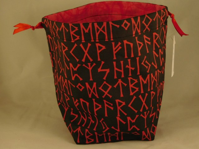 Red Runes on Black Drawst...