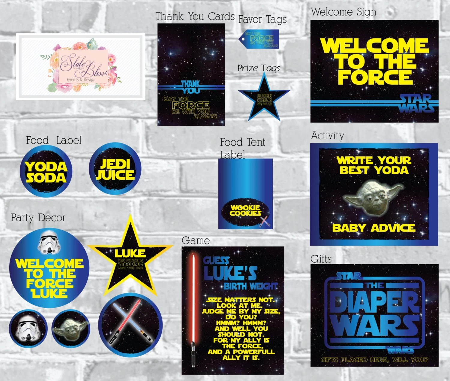 Star Wars Baby Shower Printable Party Pack By Stateofblissevents