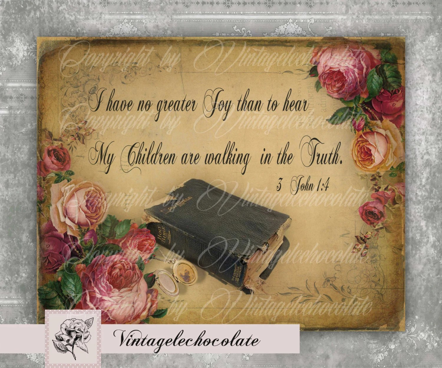 Digital Vintage Scripture Print Antique Old Bible Printable