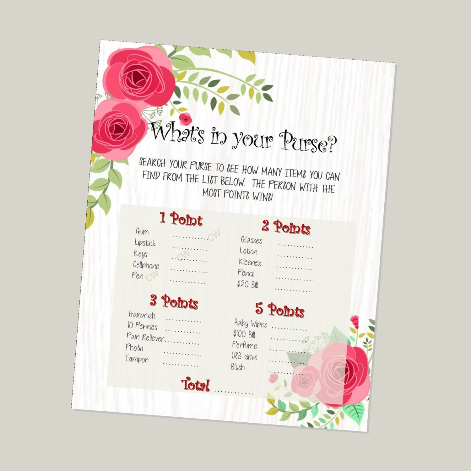 Printable Baby Shower Game What S In Your Purse Pink