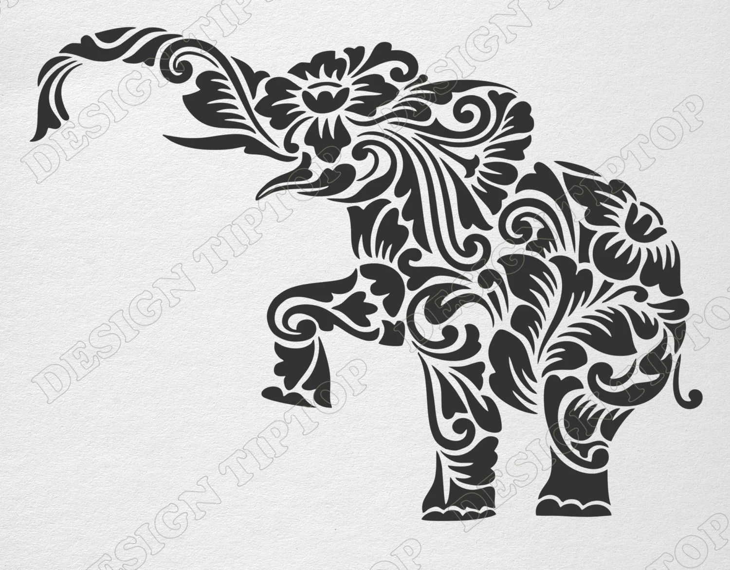 Flower Elephant Svg Dxf Cut File Elephant Zentangle