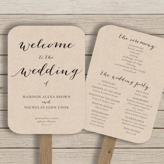 Wedding Ceremony Program Fans