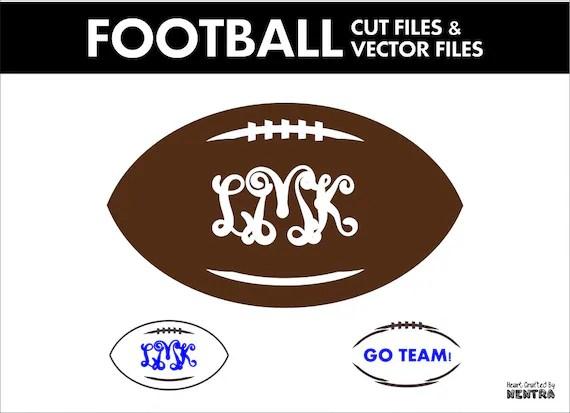 Download 3 Football Cut Files SVG Monogram Vector Instant Download DXF