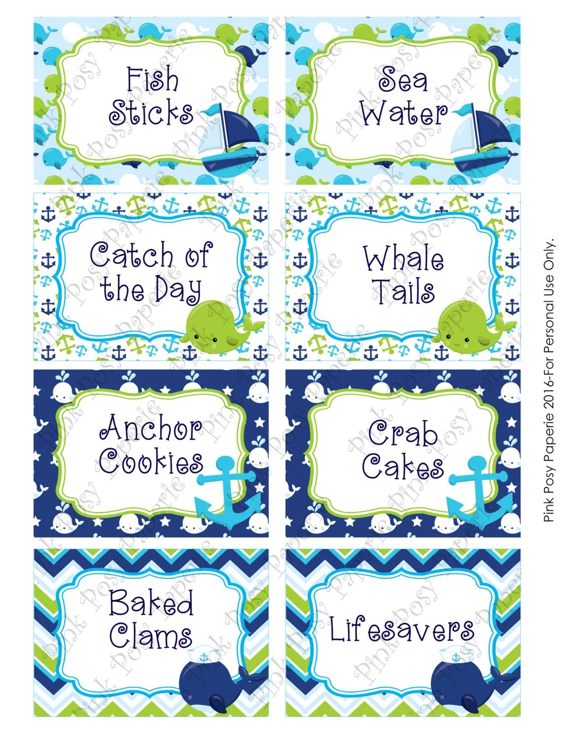 Printable Whale Boy Baby Shower Food Labels