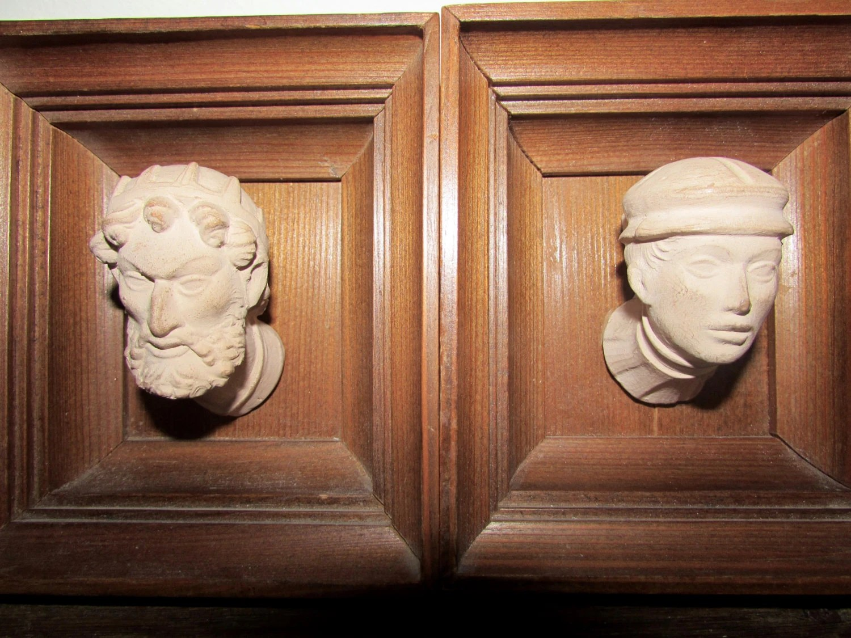Vintage Wawel Castle Coffered Ceiling Head Replicas