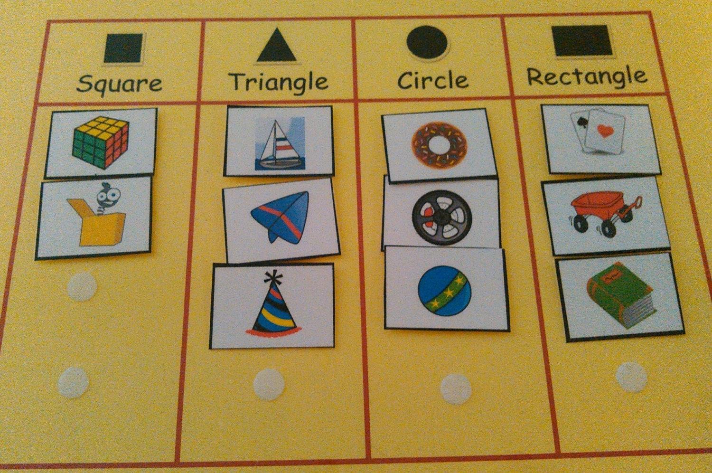 Shape Sorting Velcro Match Shapes Grouping Shape Cards