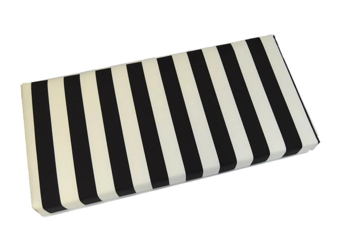 Indoor / Outdoor Black And White Stripe Cushion For Bench