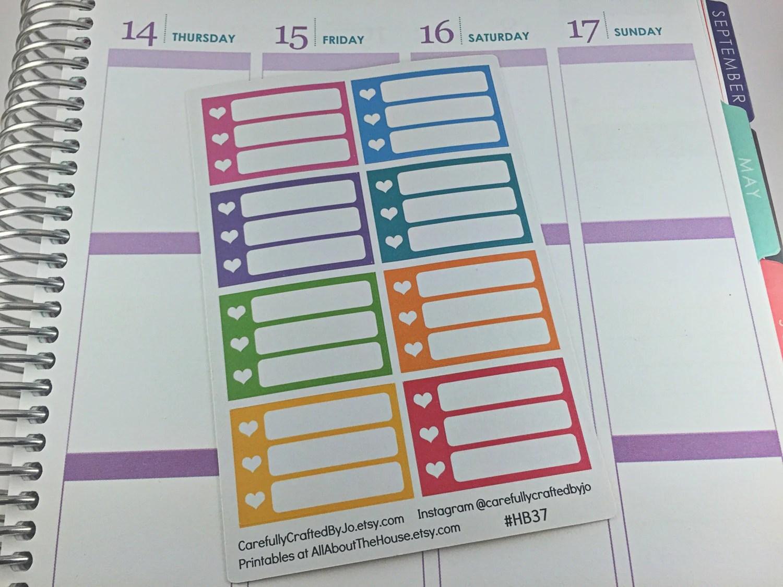 heart planner stickers, list, checklist, half box, erin condren, happy planner, sidebar, limelife, to do, don't forget, reminder, school, work study
