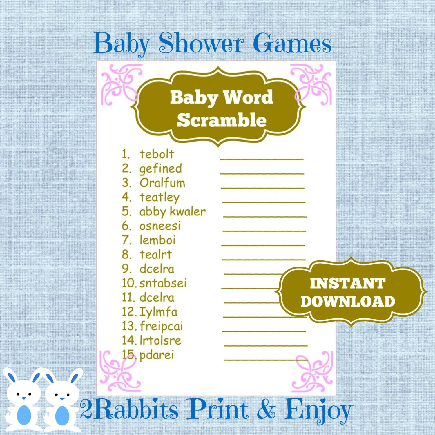 Princess Baby Shower Word Scramble With Answers Pink And Gold