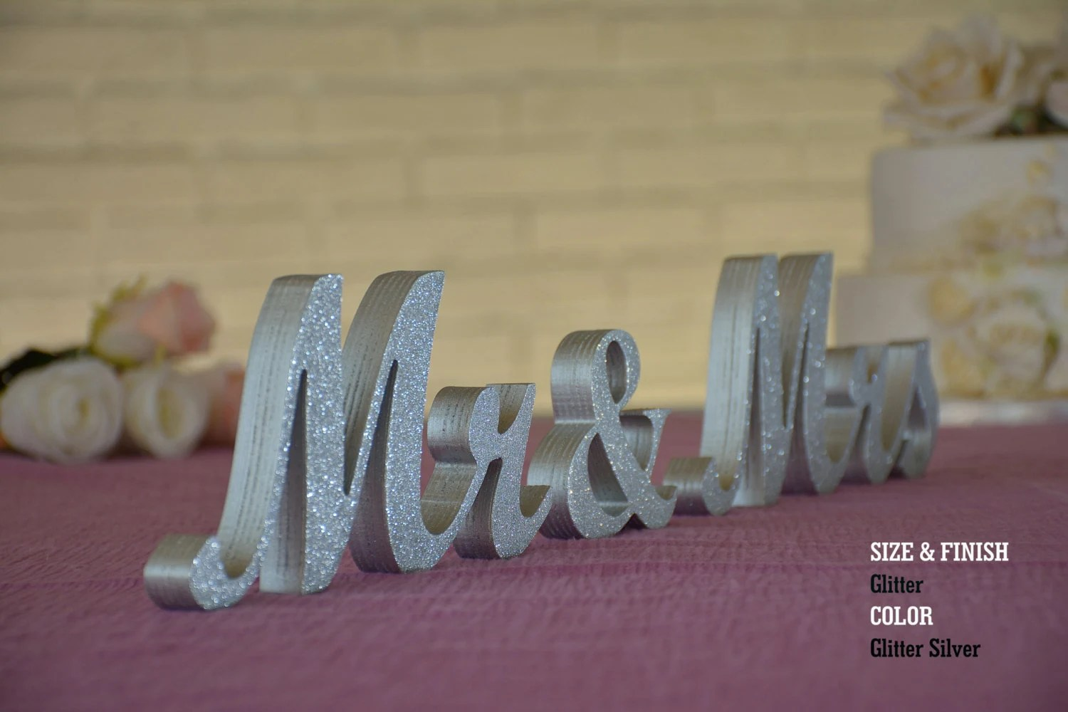Silver Glitter Mr & Mrs Wedding Signs Mr And Mrs Wood Wedding