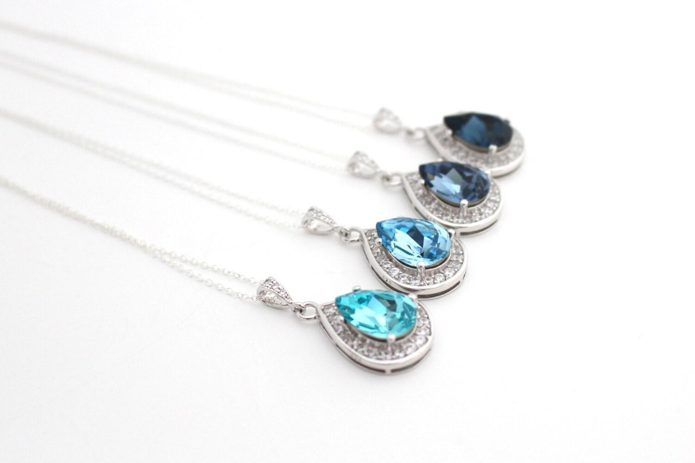 Light Blue Bridal Jewelry Blue Teardrop Necklace Bridal