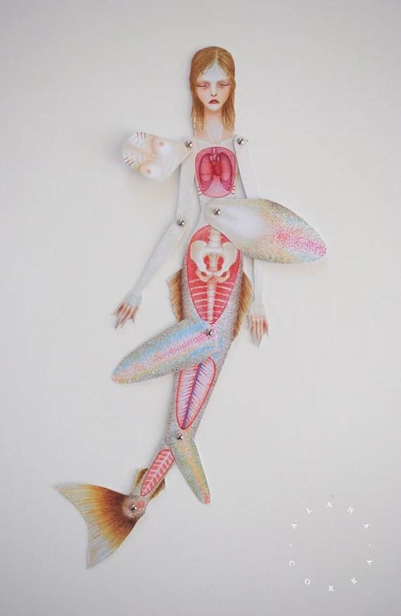 DIY Lift-the-flap Anatomy Paper Doll: Mermaid