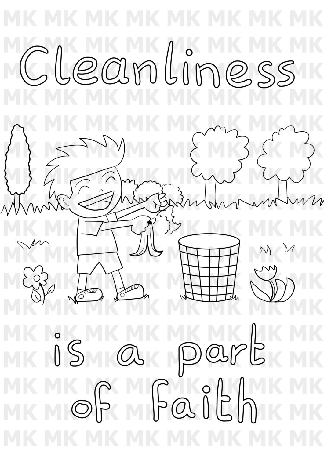 Printable Muslim Child Coloring Cleanliness By Muslimchildart