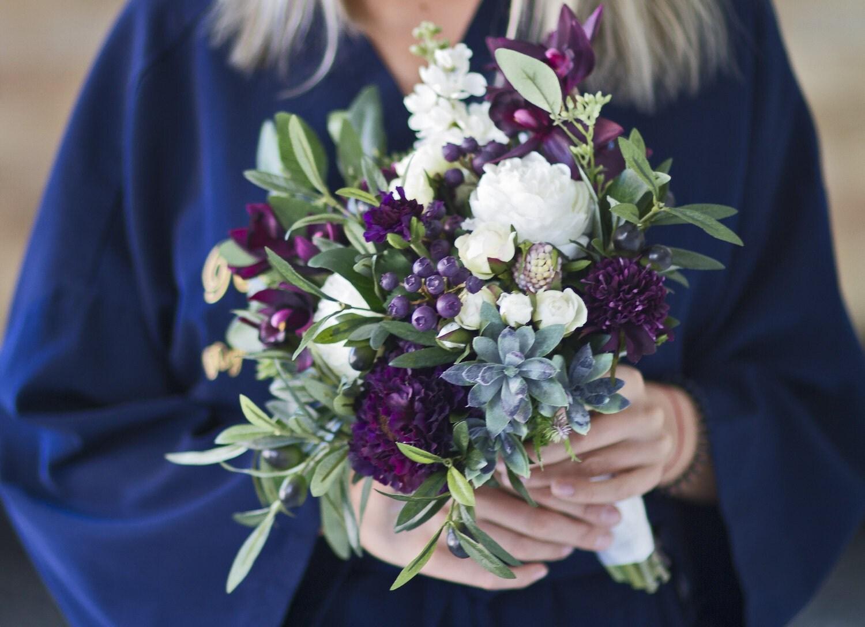 Plum Wedding Bouquet Succulent Bridal Bouquet Eggplant