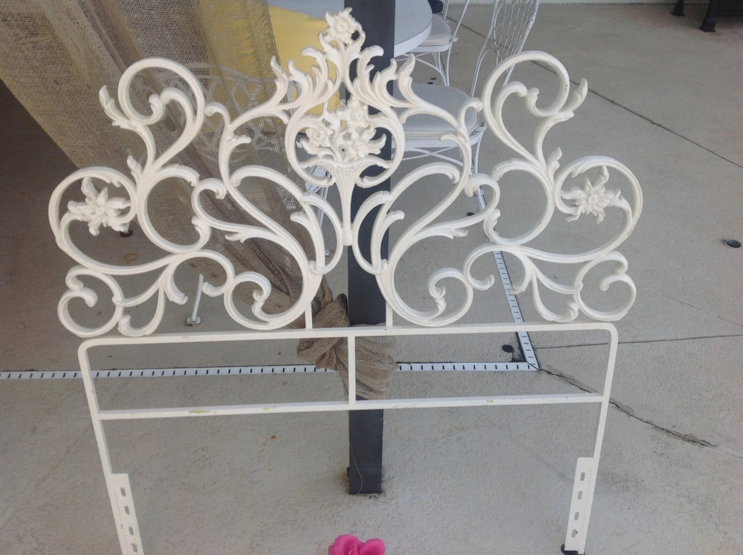 SHABBY CHIC CAST IROn Headboard / Twin Iron Rococo Headboard