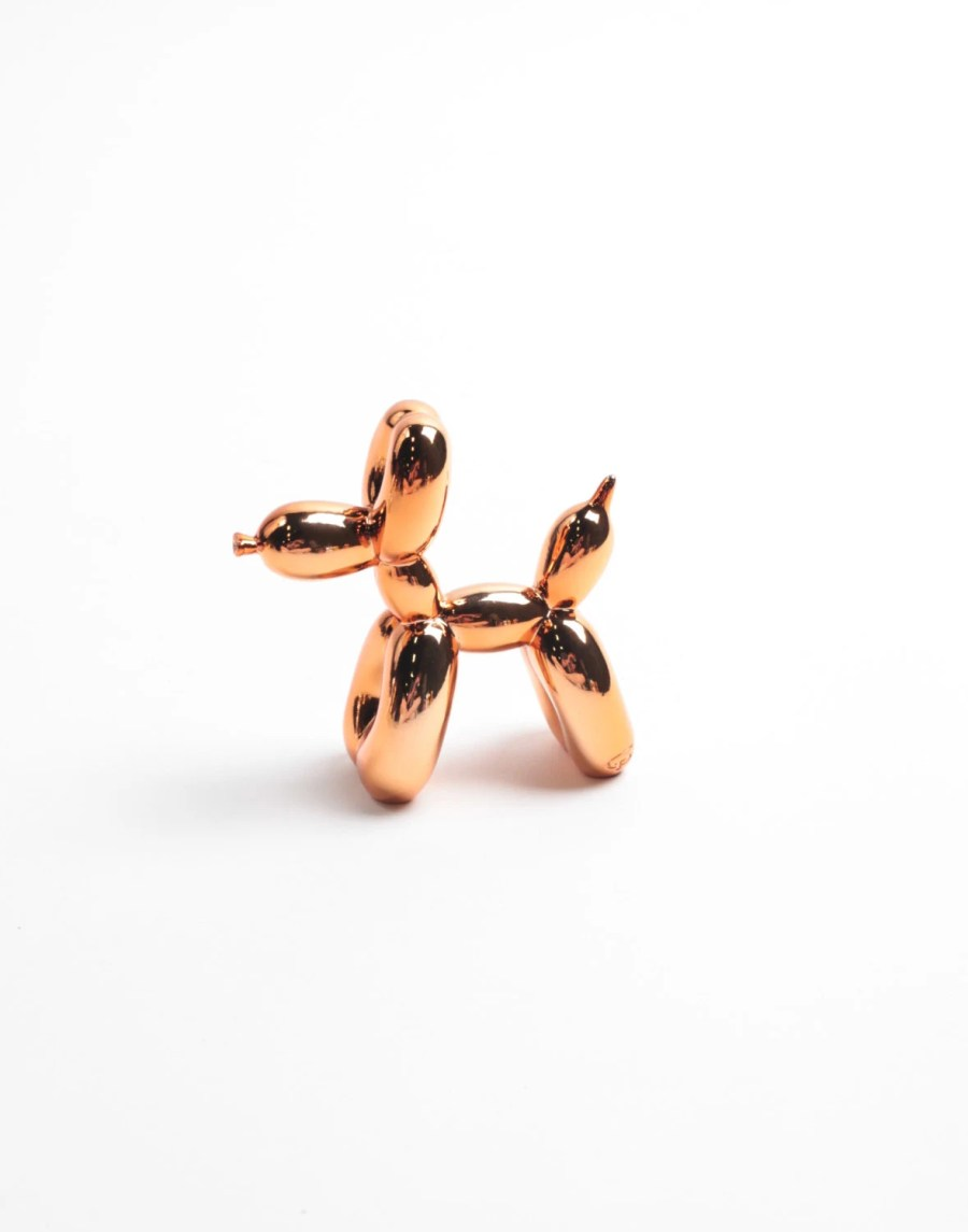 The MINI Balloon Dog - Metallic Rose Gold Desktop Balloon Dog Figurine- Kids Room Decor Animal Statue -Faux Taxidermy Circus Balloon Animals
