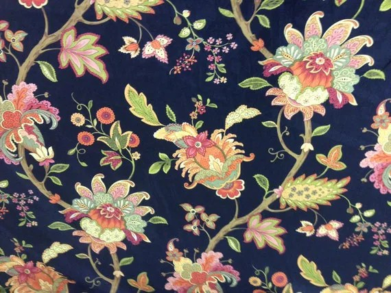 Vibrant Floral And Black Fabric